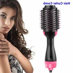 2-in-1 Hair Blow Dryer Volumizer Straightener Curler Comb On