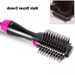 2-in-1 Hair Blow Dryer Volumizer Straightener Curler Comb On