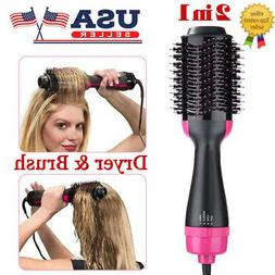 2 in 1 Oval Hair Blow Dryer Brush Comb Hot Air Dryer Styler