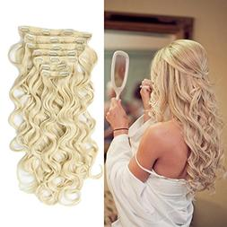 """22"""" Clip in Hair Extensions Full Head Curly Wavy Hairpiece"""