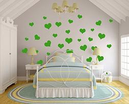 N.SunForest 40 Lime-tree Green Love Hearts Vinyl Wall Decals