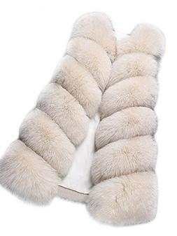 Aukmla Women's Faux Fur Sleeveless Vest Mid-Length Waistcoat