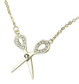 Gold Tone Metal Bling Small Scissor Pendant Necklace Hair St