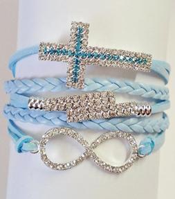 Light Blue Leather Like Bling Charms Multi Strand Bracelet I