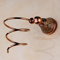 MINGLI Brass hair dryer bracket, rose gold inlaid natural ja