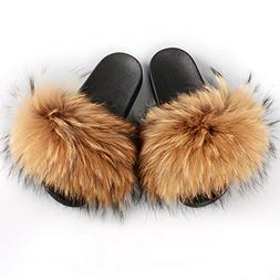Manka Vesa Womens Luxury Real Raccon Fur Slippers Slides Ind