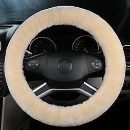 OGLAND Natural Fur Wool Sheepskin car Steering Wheel Cover,P