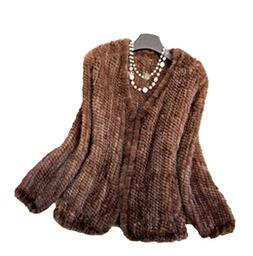 YR Lover Women's Warm Long Sleeves Knitted Natural Mink Fur