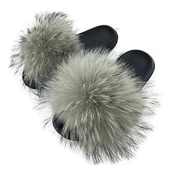 Yu Li Womens Luxury Real Raccon Fur Slippers Slides Indoor O