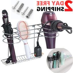 Bathroom Wall Mount Hair Tools Organizer Dryer Blow Stand Cu