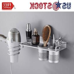 Bathroom Wall Mount Hair Tools Organizer Dryer Blow Stand Cu