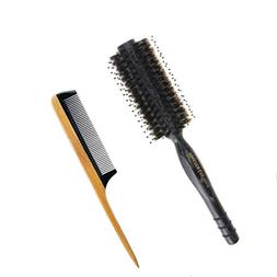 Aguder Natural Boar Bristles Round Hair Brush with Manchuria
