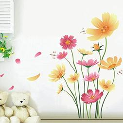 Chrysanthemums Butterflies Dragonflies Garden Wall Decal PVC