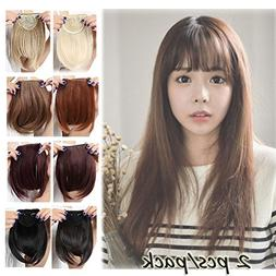 Clip in Bangs Hair Extensions Black Brown Blonde for Women O