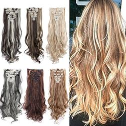 8PCS Clip in Hair Extensions Straight Wavy Curly Full Head W