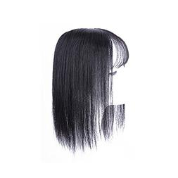 Clip in Human Hair Top Piece Extensions with 3D Air Bangs Fr