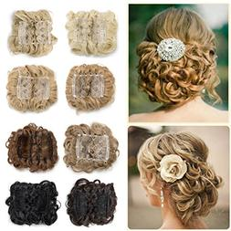 Combs Clip in Bun Claw Jaw Updo Hairpiece Extension Wavy Don