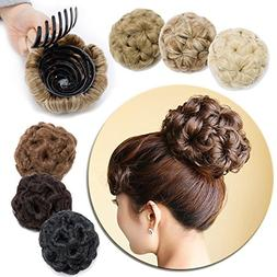 Combs Clip in Bun Claw Jaw on Updo Hairpiece Extensions Wavy