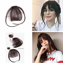 Komorebi #2 Darkest Brown Human Hair Bangs Clip on Real Hair