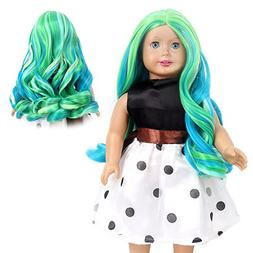 STfantasy American Girl Doll Wigs Ombre Green Highlight Blue