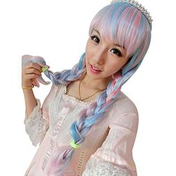 ACE Glorious Long Wavy Full Wigs Pink Blue White Mix Cosplay