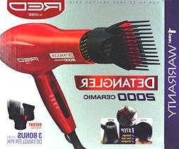Hair Blower Blow Dryer with 3 Comb Attachments Red for Styli