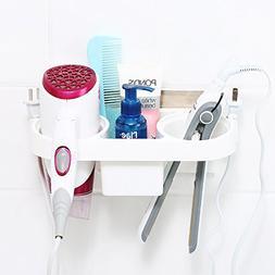 Hair Dryer Flat Iron Holder Wall Mount with Organizer White