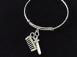 Hair Stylist Scissors Comb Silver Expandable Charm Bracelet