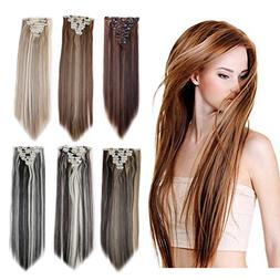 8PCS 24-26 inches Highlight Straight Wavy Curly Full Head Cl