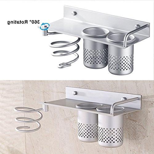 3 in 1 Dryer Holder Hair Dryer Shelf Stand Dryer Rack Holder Bathroom Washroom Rack Collection Storage 2 Aluminum