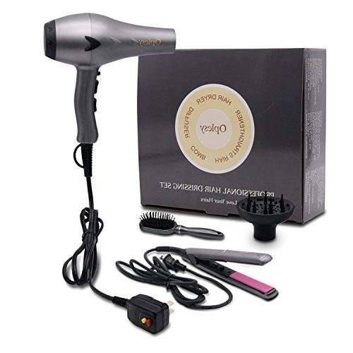 1625W Lightweight DC Motor Low Hair Set, and 3 Temperatures Settings, & Set,Tourmaline Ceramic Flat Hair Straighteners