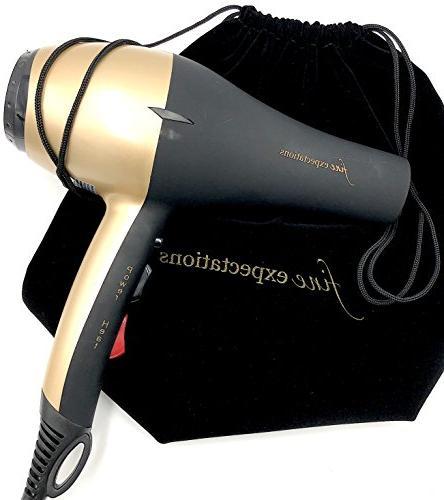 ADVANCED INFRARED CERAMIC HAIR DRYER - Salon Temps Hot, Cool Shot 1900W 8' Velvet Pouch