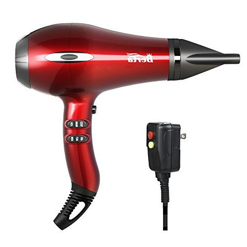 BERTA Hair 4 Attachments, and Professional motor, Red