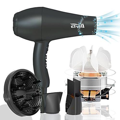 BERTA Professional Hair Dryer 1875W Negative Hair Blow Dryer Heat 3 Heat Setting Motor 3 Accessories
