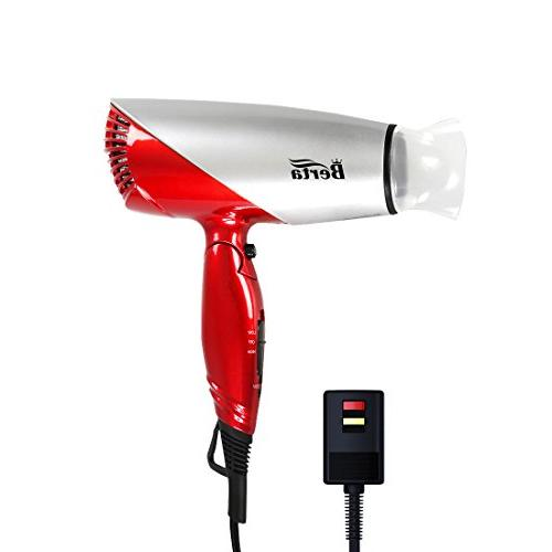 Berta Dual Voltage Hair Dryer Travel Dryer with 2 Speed Settings Button