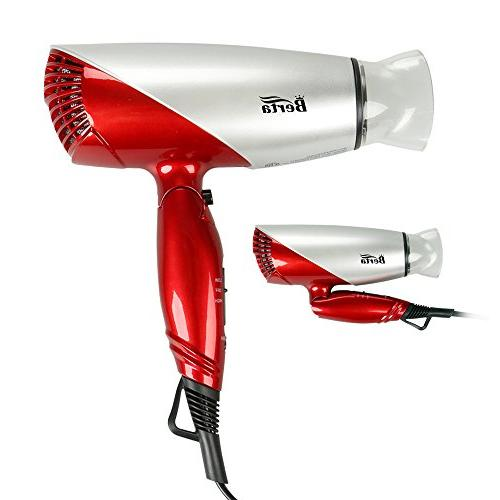 Berta 1875W Dual Voltage Hair Dryer Negative Ionic Travel Fo