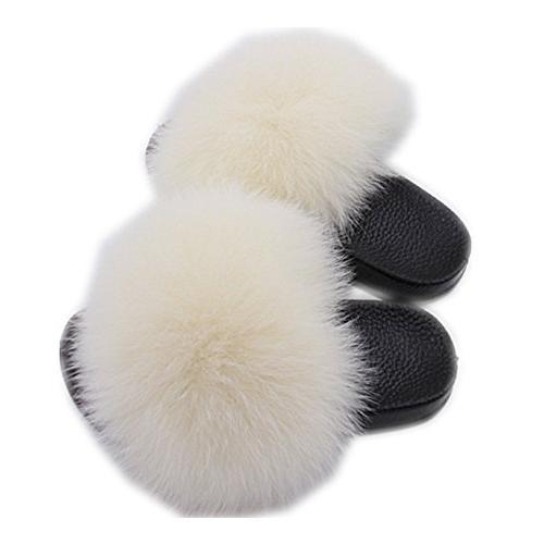 Gegefur Children's Fox Fur Slippers Women's Home Fashion Non