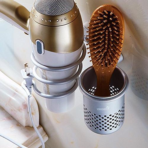 Hair Dryer Holder,Hair Blow Dryer Organizer Shelf Mount with Washroom Accessories Storage