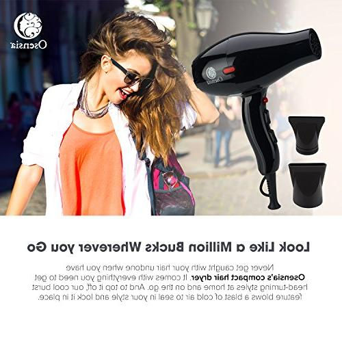 Hair Dryer Attachments FREE 1875W Salon Hair Styling Tool 1 Yr by Osensia