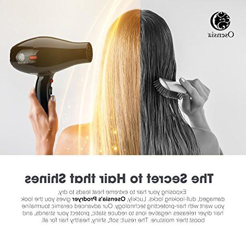 Hair Dryer Tourmaline Ionic Ceramic Dryer + Nozzle Attachments FREE Travel Bag 1875W Salon Fast Hair 1 Yr by Osensia