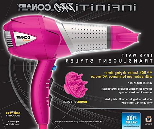 1875 Watt Styler/Hair Dryer; Pink