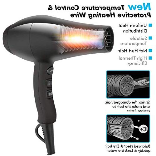 JINRI Hair Dryer,Negative Blow Dryer with Motor Noise Dryer with Concentrator,Black