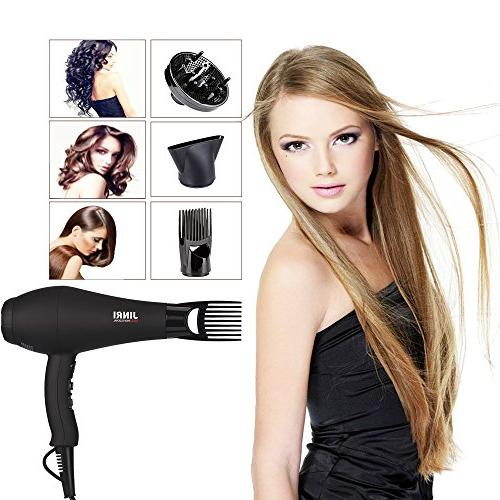 JINRI Salon Hair Ionic Blow with Motor Hair Dryer and Concentrator,Black Color