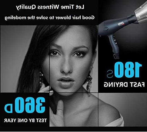 JINRI Hair Dryer 1875W Can Dry Negative Concentrator and Diffuser 3 Heat Speed Button,Black