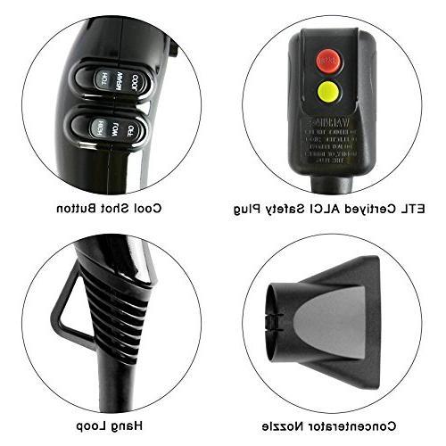 JINRI Professional Salon Dryer Negative Ion dryer Speeds 3 Heat Settings ,Black
