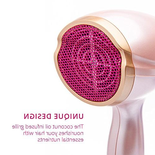 Lee Stafford Hair Dryer 1875W - Fast Dryers: Quiet Lightweight Coconut for Healthy Hair - 2 Settings - Pink & Rose