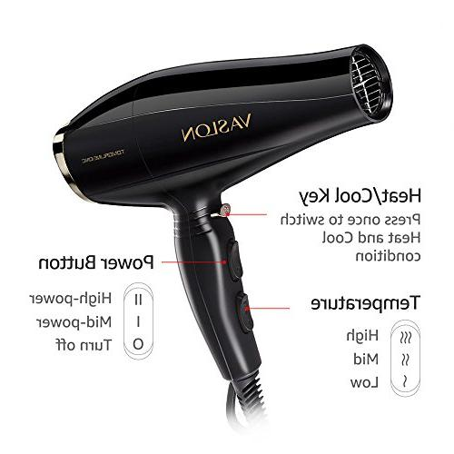 Tourmaline Hair Blow Dryer, 1875W AC Fast Dryer for Styling with Diffuser, &