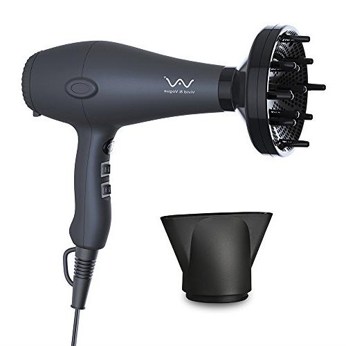VAV Hair Dryer Blow Dryer Concentrator Cool shot 2 Speed and Heat DC Motor Black