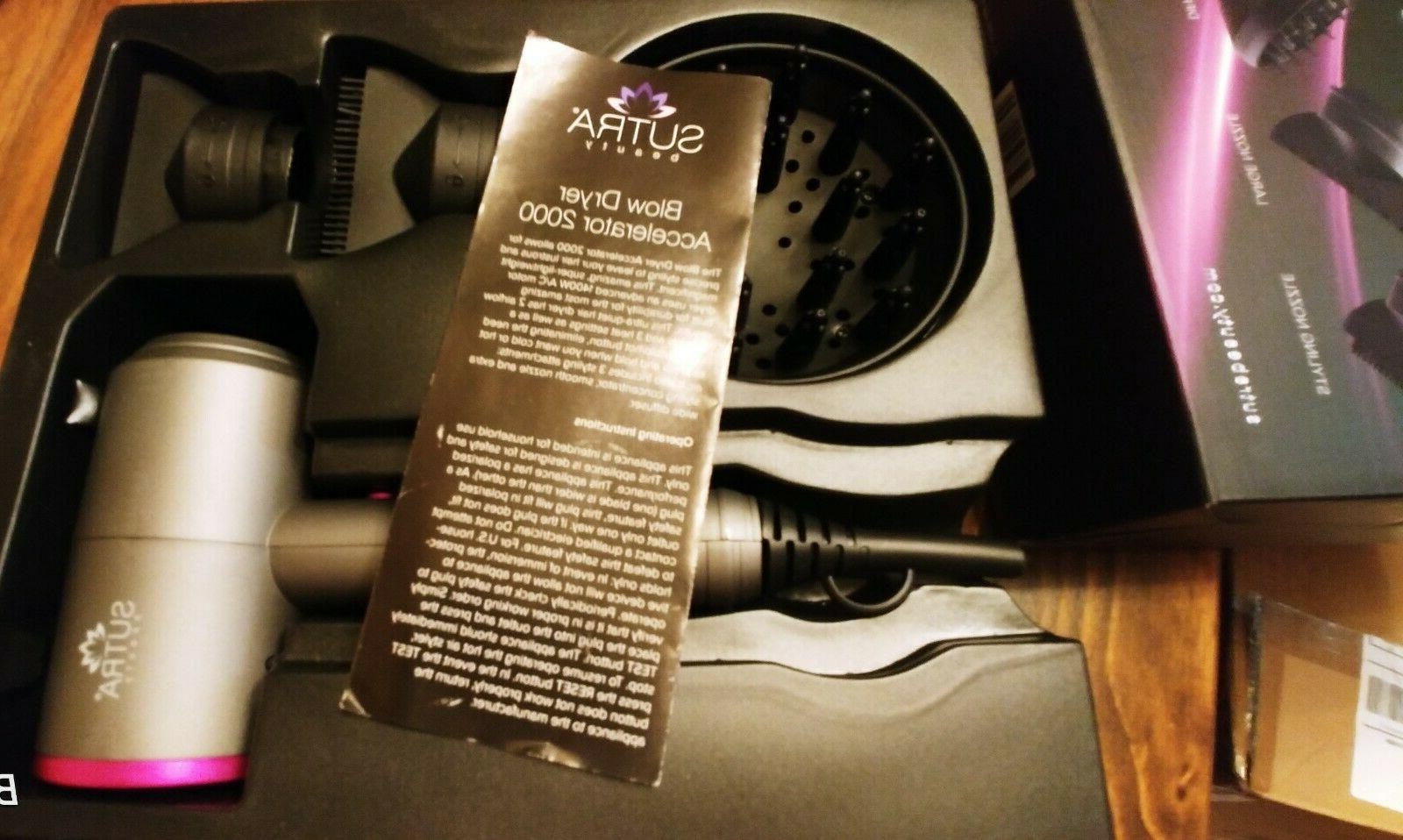 Sutra Accelerator 2000 Blow Dryer With Diffuser And Flat Nozzles