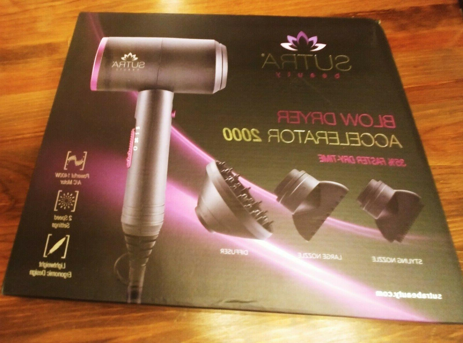 accelerator 2000 blow dryer with 3 attachments